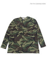 Faith connexion Crew Neck Camouflage Street Style Long Sleeves Cotton Shirts