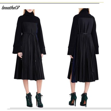 sacai Wool Long Sleeves Medium Elegant Style Dresses
