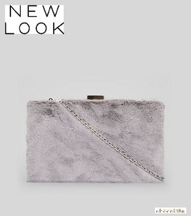 New Look Faux Fur Chain Plain Party Style Clutches