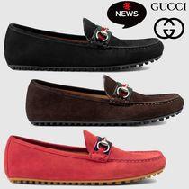 GUCCI Driving Shoes Suede Plain U Tips Loafers & Slip-ons