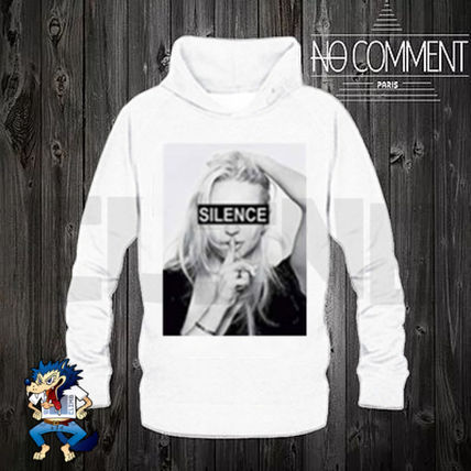NO COMMENT PARIS Hoodies Pullovers Unisex Street Style Long Sleeves Plain Cotton 4
