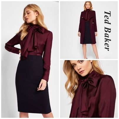TED BAKER Tight Silk Long Sleeves Plain Elegant Style Dresses