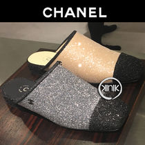 CHANEL Square Toe Casual Style Plain Slippers Sandals