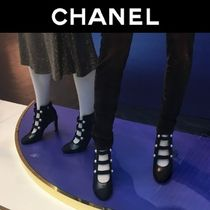 CHANEL Plain Toe Plain Leather Block Heels Elegant Style