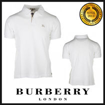 Burberry Pullovers Plain Cotton Short Sleeves Polos