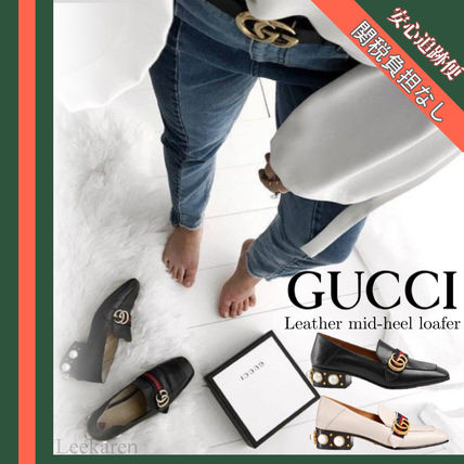 78d9a7a6410 ... GUCCI Loafer Round Toe Studded Leather Block Heels Elegant Style ...
