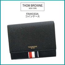 THOM BROWNE Plain Leather Coin Cases