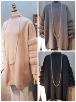 Cable Knit Casual Style Blended Fabrics U-Neck Long Sleeves