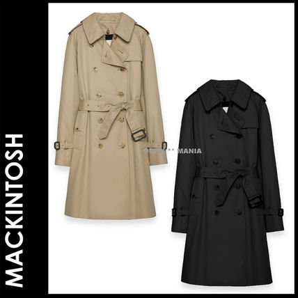 Plain Medium Office Style Trench Coats