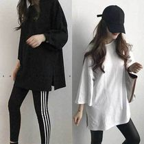NANING9 Casual Style Cropped Plain Cotton T-Shirts