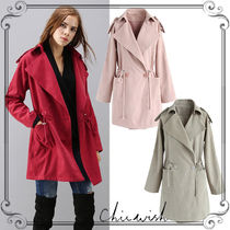Chicwish Casual Style Plain Medium Trench Coats