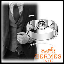 HERMES Plain Silver Rings