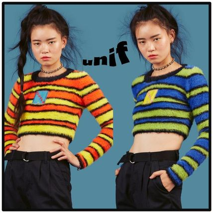 UNIF Clothing Short Stripes Casual Style U-Neck Cropped