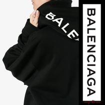 BALENCIAGA Unisex Long Sleeves Plain Cotton Hoodies