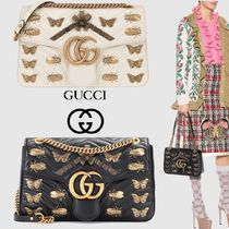 619aa66887dd88 GUCCI GG Marmont 2WAY Chain Plain Leather Elegant Style Shoulder Bags