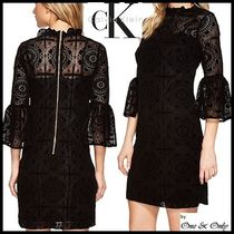 Calvin Klein Short Tight Cropped High-Neck Lace Dresses