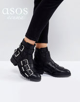 ASOS Round Toe Casual Style Plain Leather Block Heels Flat Boots