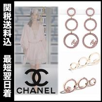 CHANEL 17 SS ring shaped metal in gold/pink drop earrings