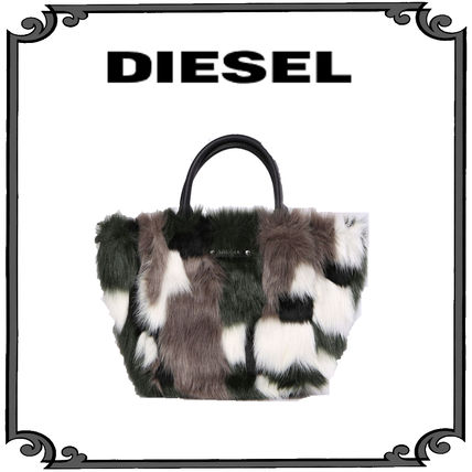 DIESEL Casual Style Faux Fur Totes