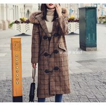 Glen Patterns Casual Style Long Oversized Duffle Coats