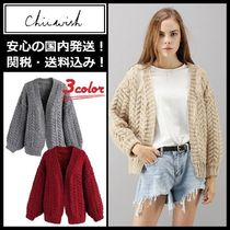 Chicwish Cable Knit Casual Style Long Sleeves Medium Knitwear