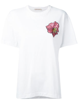 Christopher Kane Flower Patterns Cotton Short Sleeves T-Shirts