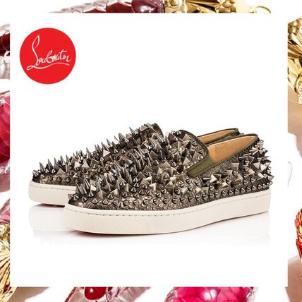 Christian Louboutin ROLLER BOAT Plain Toe Studded Leather Python Loafers & Slip-ons