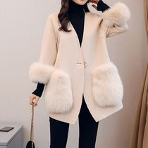 Faux Fur Street Style Plain Medium Cashmere & Fur Coats