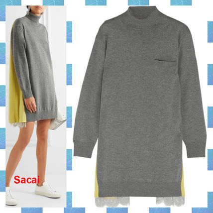 sacai Wool Long Sleeves Plain Medium Elegant Style Turtlenecks