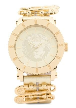 VERSUS VERSACE Leather Round Party Style Quartz Watches Analog Watches