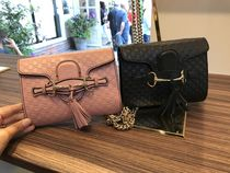 GUCCI Leather Chain Shoulder Bag With With Flap Closure&Tassle