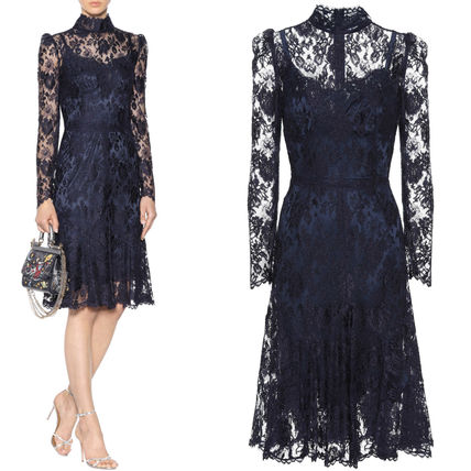 Dolce & Gabbana 17-18 AW DG 1337 FLORAL LACE HIGH NECK FLARE DRESS