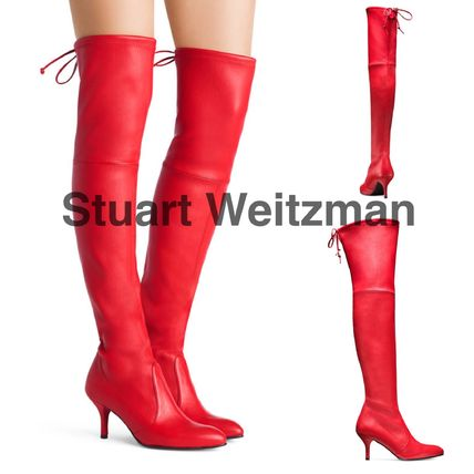 Stuart Weitzman Casual Style Plain Leather Over-the-Knee Boots