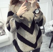 Crew Neck Casual Style Long Oversized Puff Sleeves Sweaters