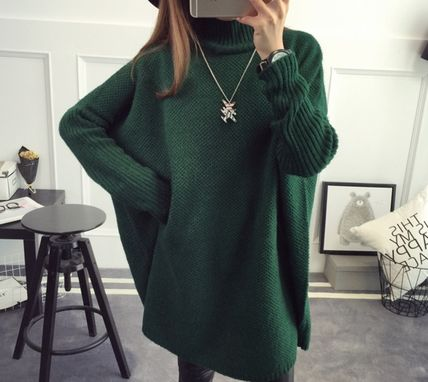 Casual Style Long Sleeves Plain Long High-Neck Oversized