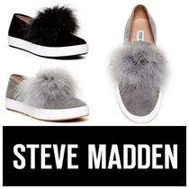 Steve Madden Platform Round Toe Casual Style Faux Fur Plain Slip-On Shoes