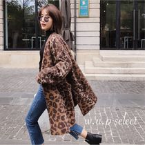 Leopard Patterns Casual Style Wool Long Oversized Wrap Coats