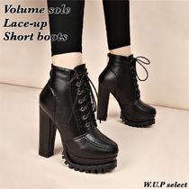 Plain Toe Lace-up Casual Style Faux Fur Plain Chunky Heels
