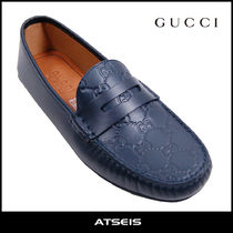 GUCCI Monogram Plain Toe Loafers Street Style Leather