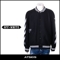 Off-White Short Stripes Wool Street Style MA-1 Bomber Jackets