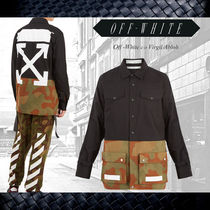 Off-White Camouflage Long Sleeves Plain Cotton Shirts