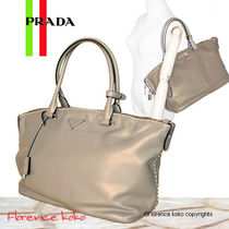 PRADA Argilla Grey Soft Calf Leather Tote Bag