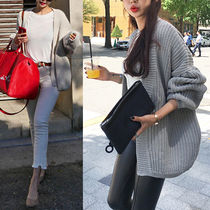 Casual Style Plain Gowns Puff Sleeves Cardigans
