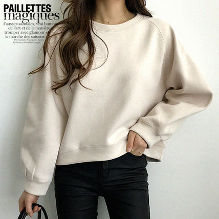 NANING9 Casual Style U-Neck Long Sleeves Plain Medium Oversized