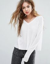 Casual Style V-Neck Long Sleeves Plain Medium Oversized