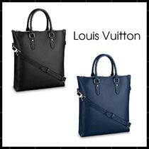 Louis Vuitton TAIGA Unisex A4 2WAY Plain Leather Totes