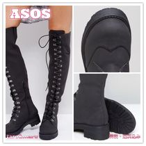 ASOS Round Toe Faux Fur Plain Over-the-Knee Boots