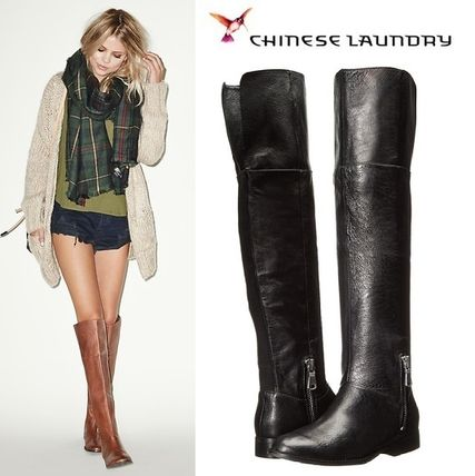Casual Style Plain Leather Over-the-Knee Boots