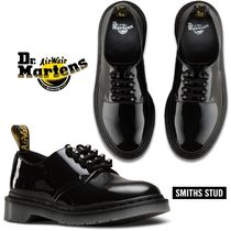 Dr Martens Round Toe Rubber Sole Lace-up Casual Style Studded Plain
