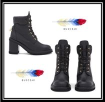 BUSCEMI Round Toe Rubber Sole Casual Style Plain Leather